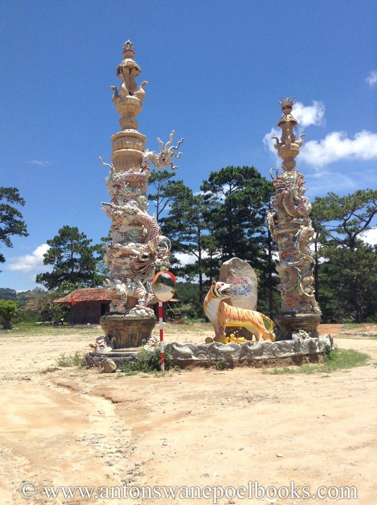 tiger in the road, vietnam